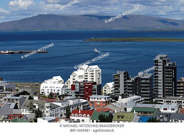 View of Reykjavik from the tower of Hallgrímskirkja church, Iceland, Europe