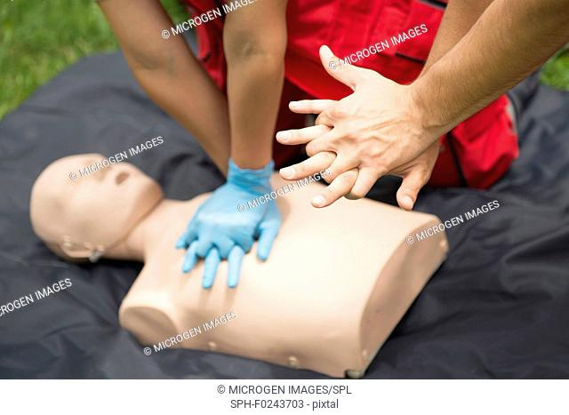 CPR training on dummy