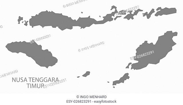 Nusa Tenggara Timur Indonesia Map in grey