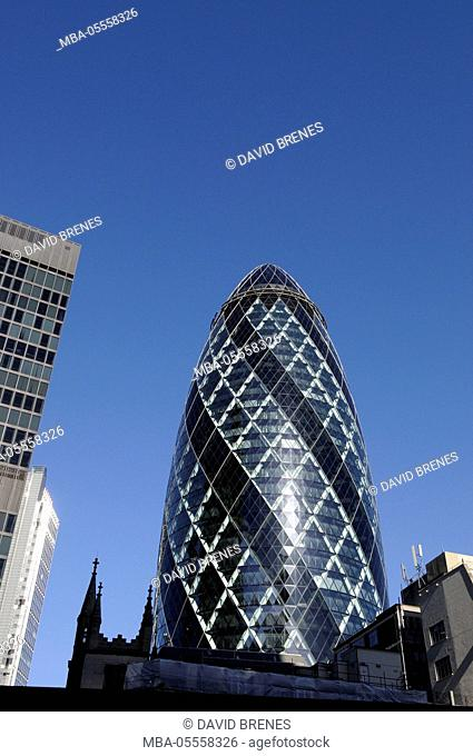 The Modern skyline of the City of London with The Gherkin Building London England