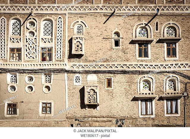 traditional yemeni heritage architecture design details in historic sanaa old town buildings in yemen