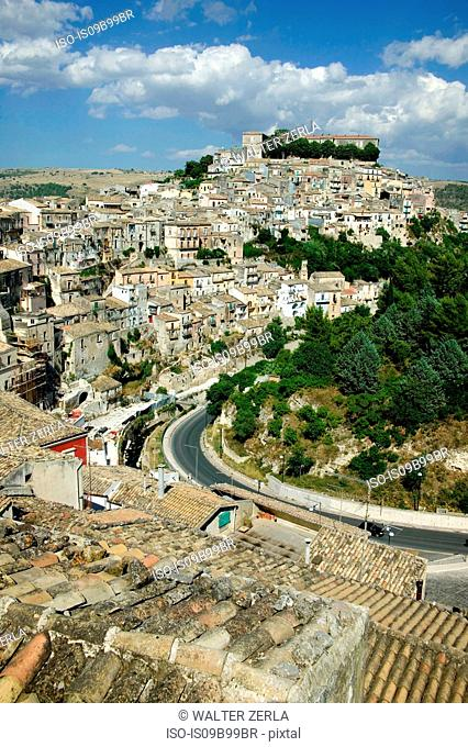 Cityscape of Ragusa over rooftops, Sicily, Italy