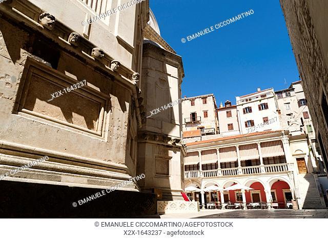 'Katedralni Trg - Platea Magna' Cathedral square, town of Sibenik, Dalmatia region, Croatia, Europe