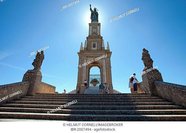 Staircase to the Christ the King monument, Santuari de Sant Salvador Monastery, Santuario de San Salvador, founded in 1342, on Puig de Sant Salvador mountain