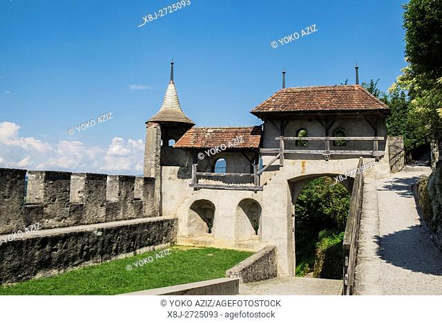 Switzerland, canton Fribourg, Gruyeres, old town