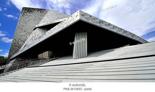 Europe, France, Paris Philharmonic staircase of the Parc de la Villette. Mandatory credit: Architect Jean Nouvel