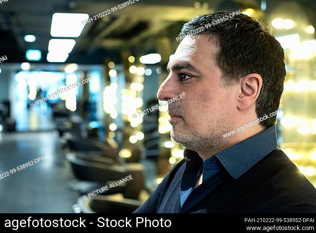 17 February 2021, Berlin: Star hairdresser Shan Rahimkhan stands in his salon on Kurfürstendamm. The rush on the hairdressers should be huge after the opening...