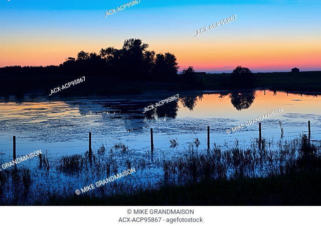 Dusk over wetland Lamont County Alberta Canada