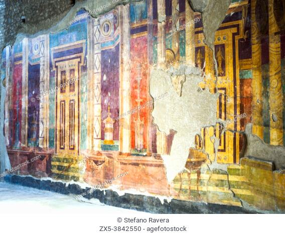Second style fresco decorated wall - Oplontis known as Villa Poppaea in Torre Annunziata - Naples, Italy