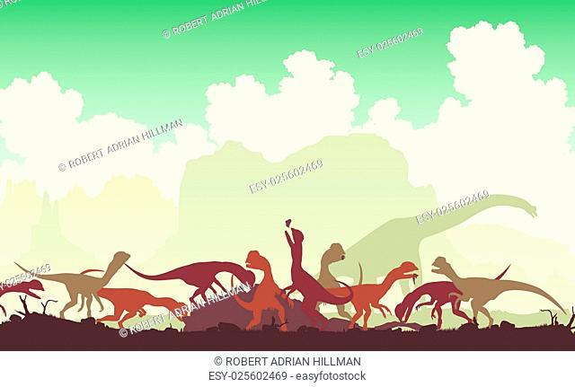 Editable vector illustration of Dilophosaurus dinosaurs feeding on a larger animal