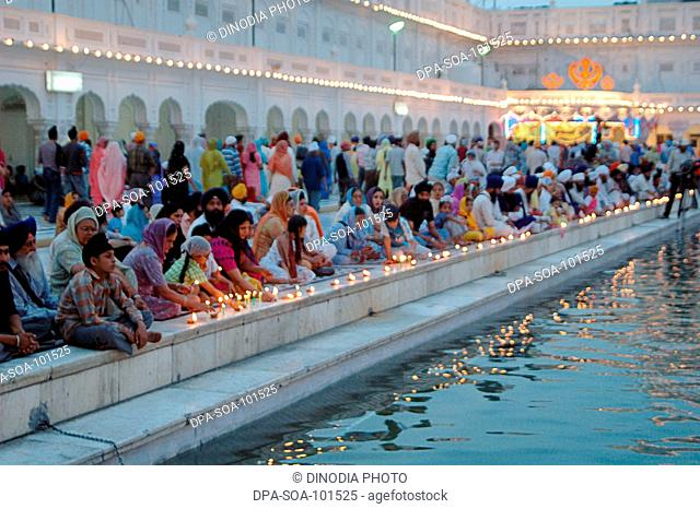Baishakhi is celebrated with lighting lamps and fire works on every 13th April at  Golden temple ; Amritsar ; Punjab ; India
