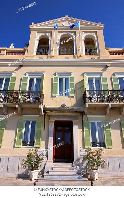 The Neo Classic of the Hotel Syrou Melathron, Ermoupolis, Syros, Greek Cyclades Islands