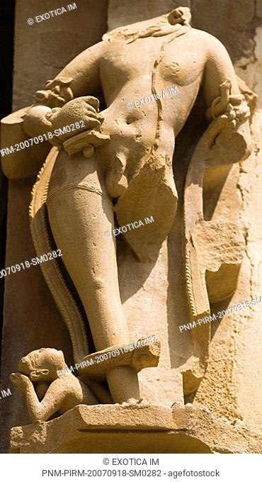 Sculpture detail of a temple, Khajuraho, Chhatarpur District, Madhya Pradesh, India
