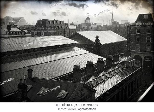 View of the Roofs from the terrace of the Royal Opera House in Covent Garden, London, England, UK, Europe