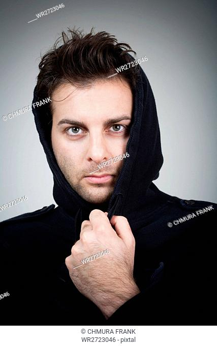 adult, casual, Caucasian, expression, face, guy, hair, hood, isolated, lifestyle, look, looking, male, man, men, people, person, portrait, serious, style