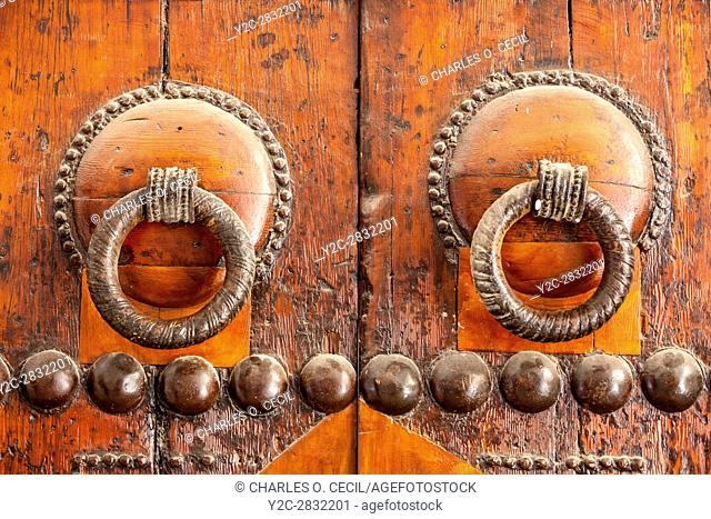 Fes, Morocco. Door Knockers on a Door of the Kairaouine Mosque, Fes El-Bali