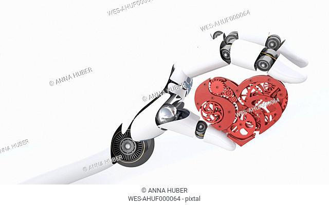 Robot hand holding cogwheel heart