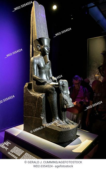 Europe, France, Paris, 2019-06 : The Grande Halle La Villerre in Paris, people visit the exposition of 180 artifacts from the 18th dynasty