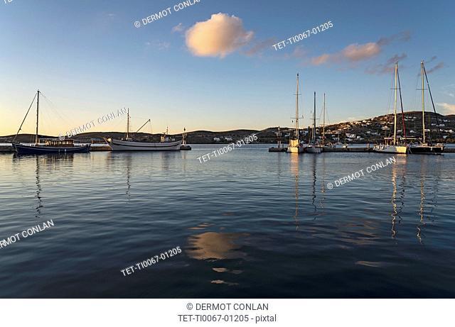 Boats in Paros Harbor, Greece