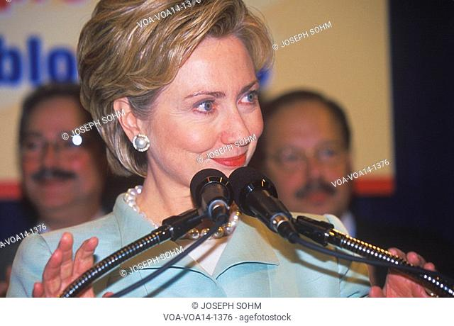 Hillary Rodham Clinton, speaks at the National Caucus of Latino Delegates, at the 2000 Democratic Convention at the Staples Center, Los Angeles, CA