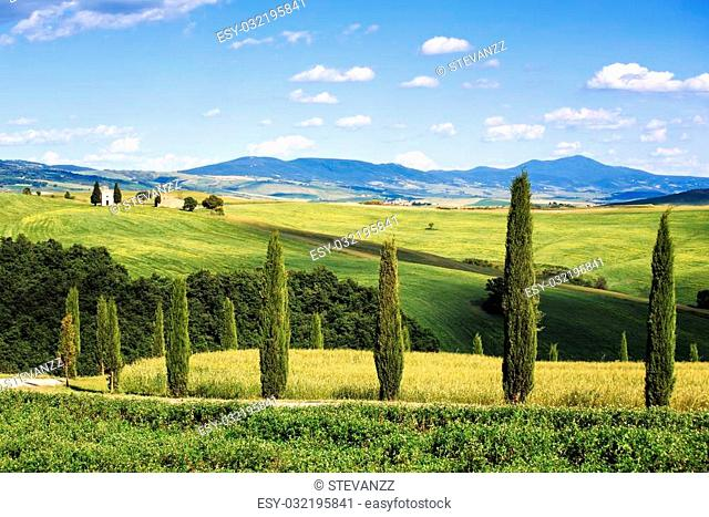 Tuscany, italian rural landscape, cypress trees Vitaleta chapel on background, little church in Val d Orcia, Italy