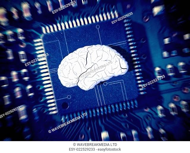 Brain in the middle of a blur circuit board