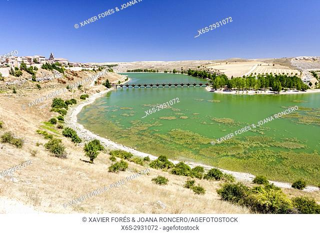 Reservoir of Linares and Maderuelo village, Natural Park Hoces del Río Riaza, Segovia, Spain