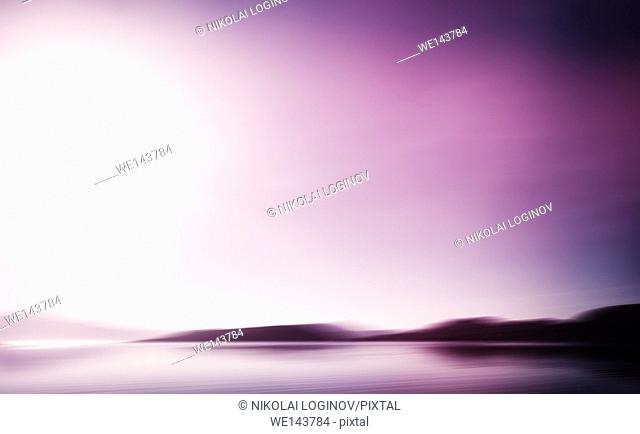Horizontal vivid landscape ocean pink milk abstraction