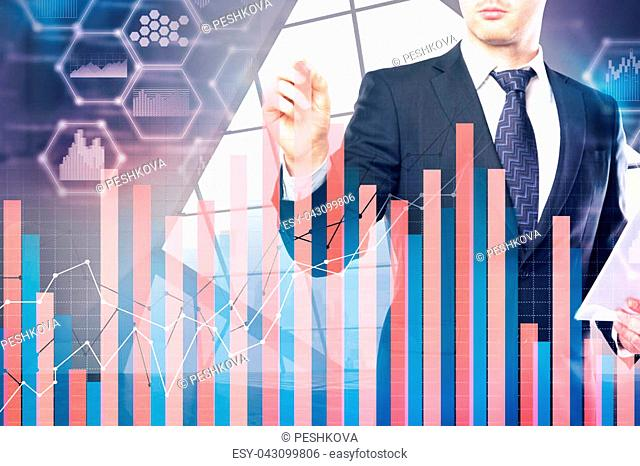 Trade and marketing concept. Businessman in modern office interior with abstract forex chart. Double exposure