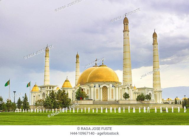 Ashgabat, Kiptshak, Mausoleum, Turkmenistan, Central Asia, Asia, architecture, city, colourful, dome, fountains, golden, Islam, marble, minarets, mosque, new