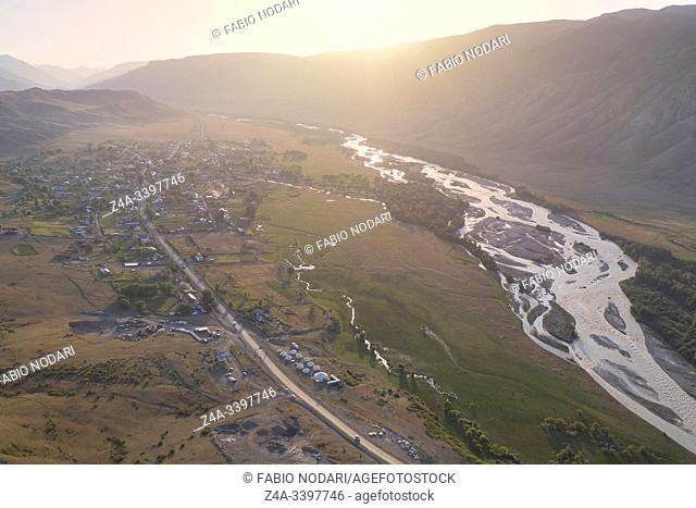 Aerial view of the mountains and Saty village in Kazakhstan