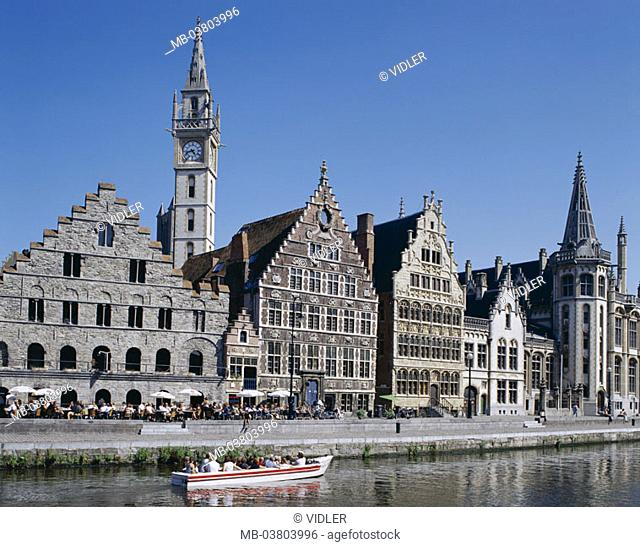 Belgium, Gent, old town, Graslei,  Gable houses, opinion,  Benelux, Flanders, houses, gable houses, tower, Uhrturm, constructions, sights, promenade