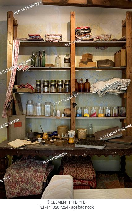 Old workshop for printing patterns on fabric by using woodblocks