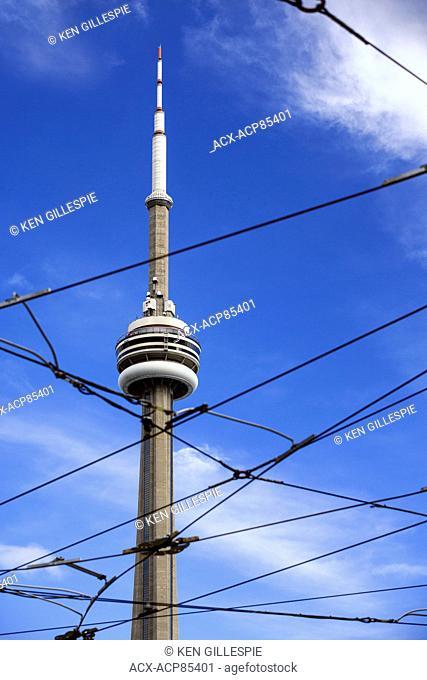 CN Tower viewed through streetcar cables, Toronto, Ontario, Canada
