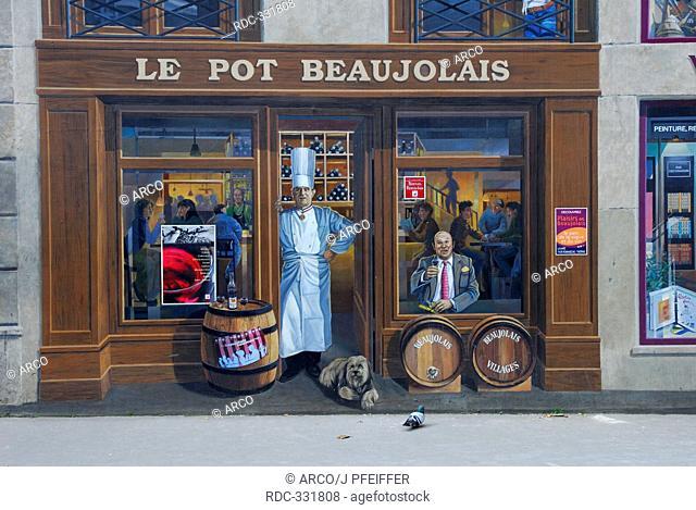 Murals of artist group CiteCreation, Les Etats-Unies, 8. arrondissement, Lyon, Rhone-Alpes, France / Fresque des Lyonnais, Bocuse and Le Pot Beaujolais