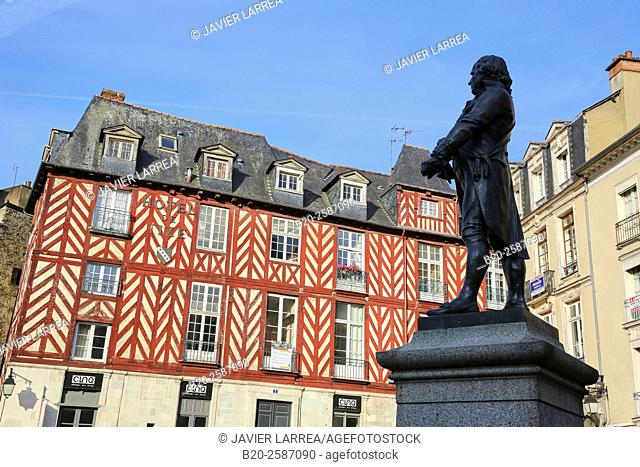 Leperdit statue, Champ-Jacquet square, Rennes, Bretagne, Brittany, France