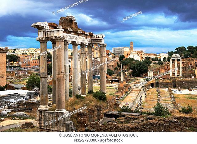 Temple of Saturn; Roman Forum; Rome; Lazio; Italy; Europe