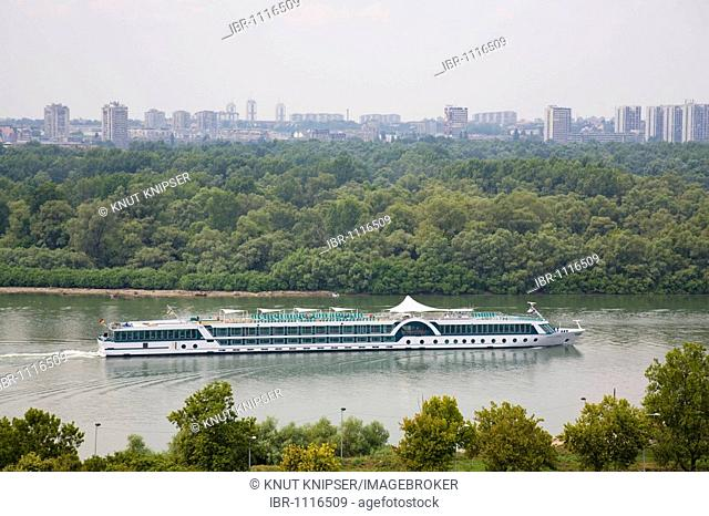 Danube-cruiser MS Amadeus Royal on the Save River, multistory buildings of Novi Beograd district in the back, Belgrade, Serbia