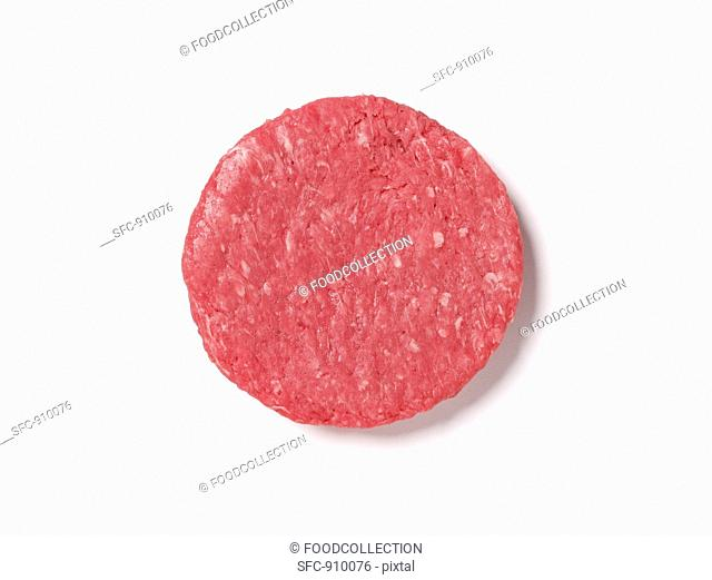 A raw burger, seen from above