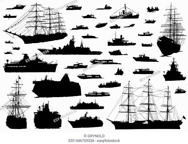 Silhouette of retro ship on white background