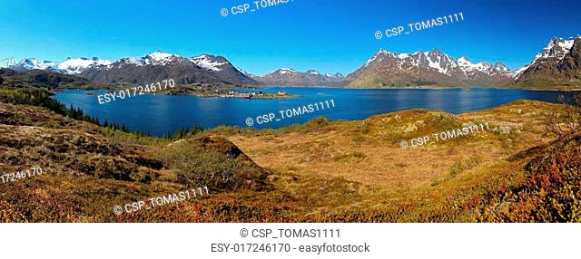 Panoramic view of Lofoten mountain