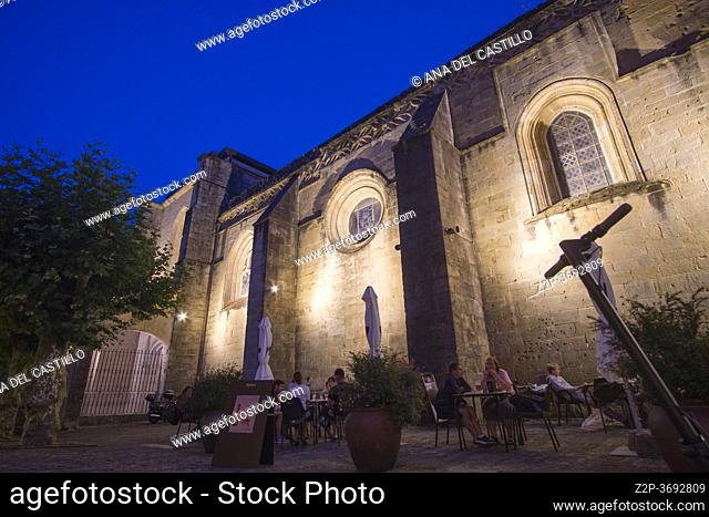Hondarribia, a town in Gipuzkoa, Spain on July 23, 2020: The medieval city by dusk. Asuncion church