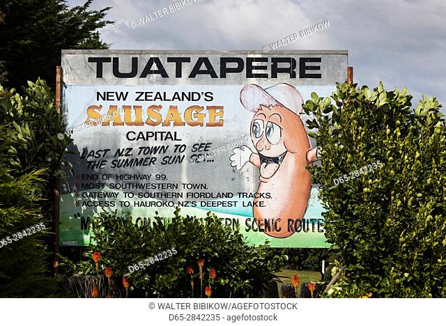 New Zealand, South Island, Southland, Tuatapere, sign proclaiming NZ's sausage capitol