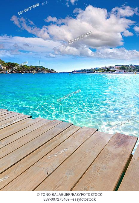 Majorca Porto Cristo beach in Manacor of Mallorca Balearic island deck photo mount