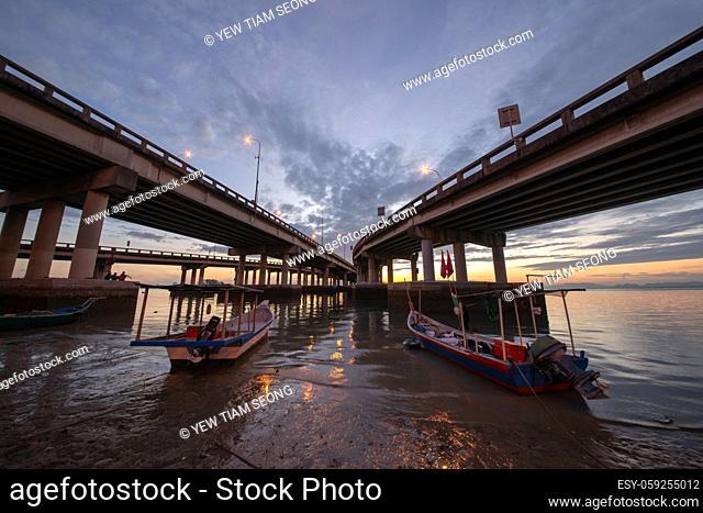 George Town, Penang/Malaysia - Feb 26 2017: Boat park near the bottom of Penang Bridge