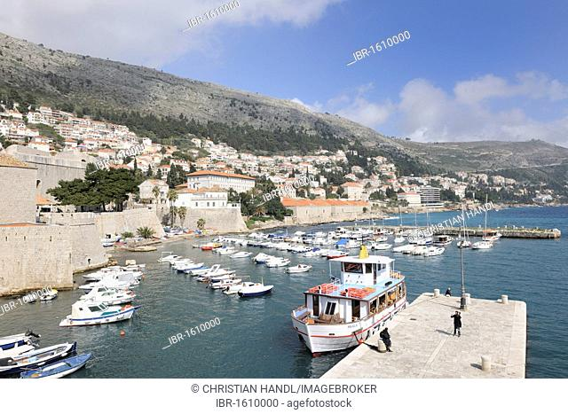 View from the ramparts on the old harbor, Dubrovnik, Ragusa, Croatia, Europe