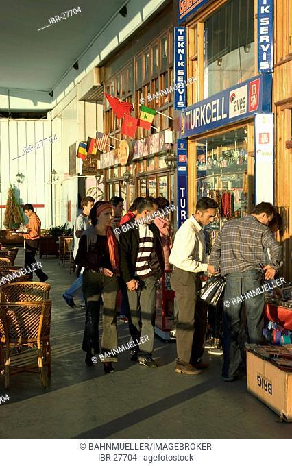 Istanbul Turkey Galatian bridge in the evening shops