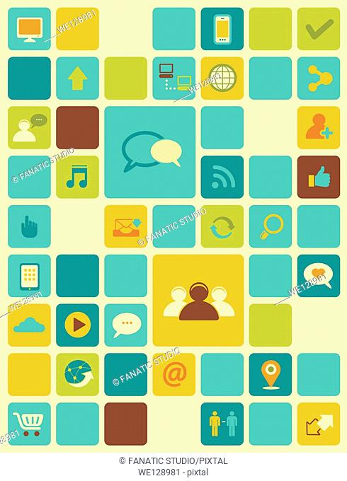 Illustration of internet icons over colored background