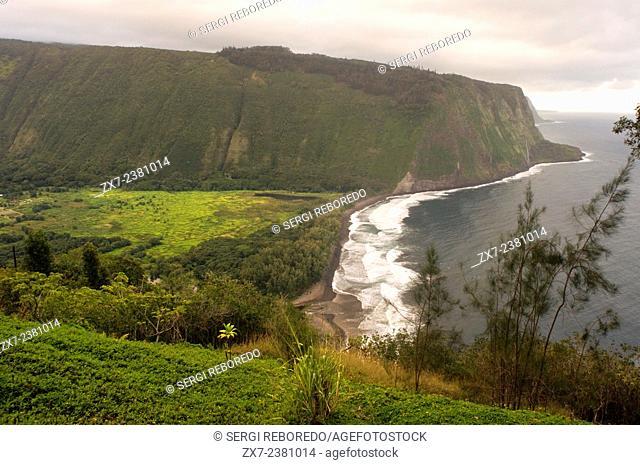 Waipi'o Valley panoramic views. Big Island. Hawaii. WaipiÊ»o Valley is a valley located in the Hamakua District of the Big Island of HawaiÊ»i