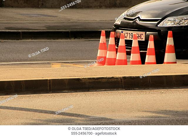 Citroen car parked in the street and traffic cones around, Barcelona, Catalonia, Spain
